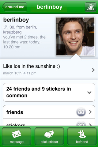 A screenshot of a social media profile, showing a male person named berlinboy.