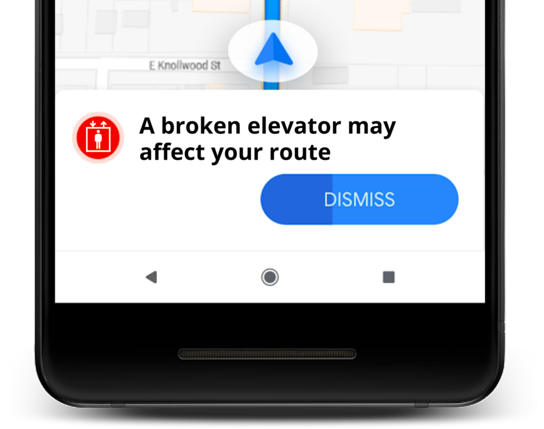 """A notification in Google Maps featuring an elevator icon and says: """"A broken elevator may affect your route"""". The notification looks similar to existing traffic jam notifications."""
