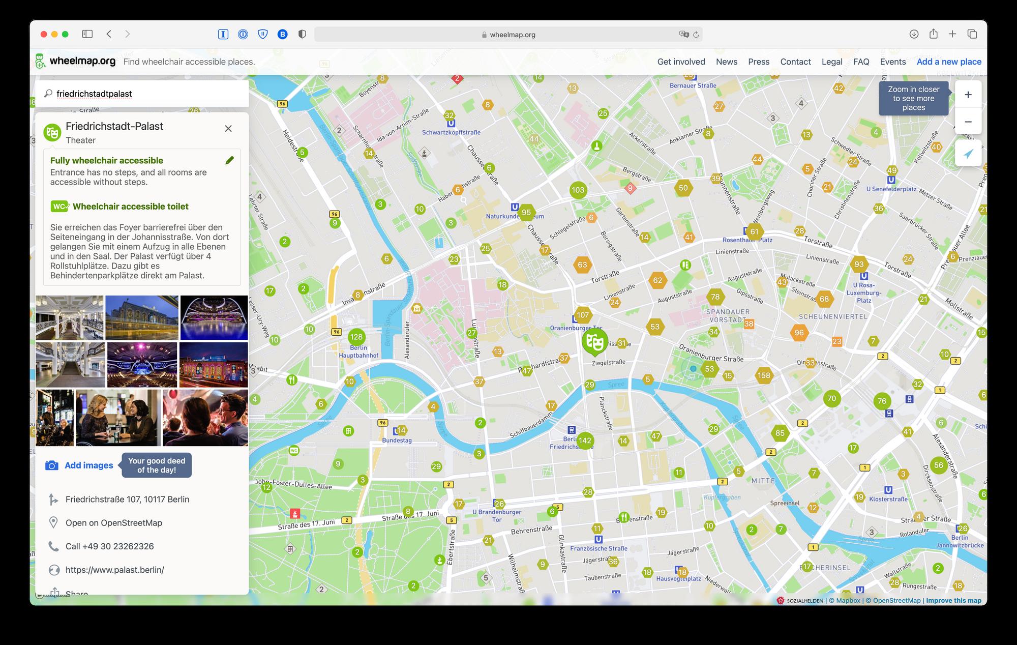 Wheelmap.org on a desktop browser, showing details about a a varieté theater in Berlin.